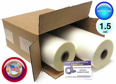 """[2 Rolls] Doculam Hot Laminating Film 9"""" x 500' on 1"""" core 1.5 Mil American Made"""