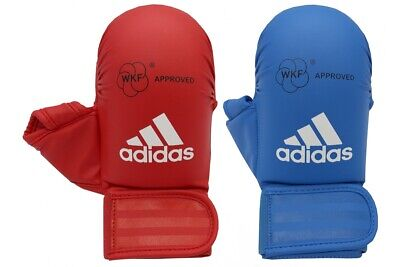 Adidas WKF Approved Competition Karate Mitts With Thumb Gloves Red Blue S M L XL