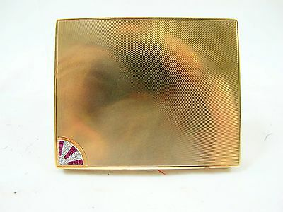 Art Deco 9 Ct Solid Gold Card Case, 9 Diamonds, 9 Rubies 97.3 Grams