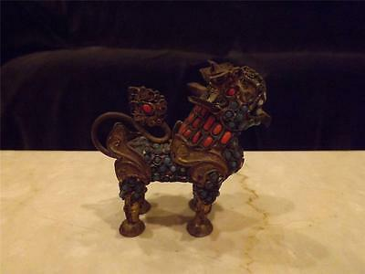 Superb Antique Brass Jeweled Foo Dog Coral Turquoise Stones Incense Burner