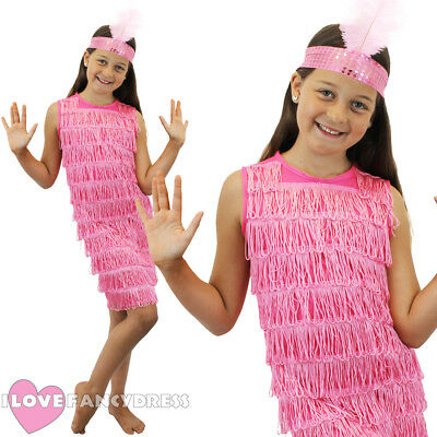 Girls Pink Flapper Dress And Headpiece 1920S Fancy Dress Charleston Costume S-Xl