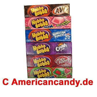 8x 5 Hubba Bubba Kaugummis USA (Grape,Hawaiian Punch,Dr Pepper) (39,44€/kg)