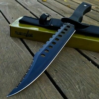 "17"" RAMBO TACTICAL Combat Survival FIXED BLADE KNIFE Machete Bowie w/ SHEATH"