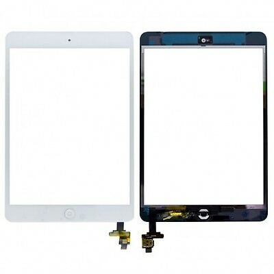 For Apple iPad Mini 1/2 White Digitizer Touch Screen Glass + IC Chip Home Button