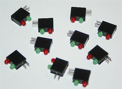 BI-LEVEL LED HIGH EFFICIENCY RED AND GREEN 3mm LEDS PCB MOUNTING - 10 PIECES