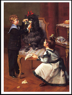 POODLE BEING GROOMED BY BOY AND GIRL CHARMING VINTAGE IMAGE ON DOG PRINT POSTER