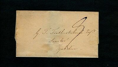 "1827 DURHAM (Great Britian) 1pg Col A. W. Light ltr to Scarbro, Yorkshire w/""8"""