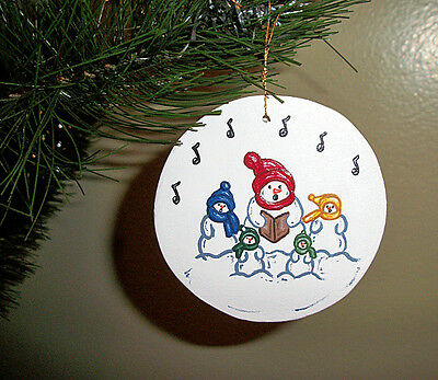 Singing snowmen - handpainted wooden ornament #146