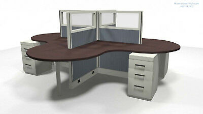 Set of 4 Person OFFICE CUBICLES SYSTEMS WORKSTATIONS Furniture Glass Panels
