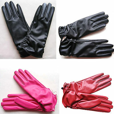 Womans Ladies Faux Leather Five Finger Short Gloves Winter Wrist Warmer