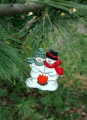 Snowman couple by the fire - handpainted wooden ornament #184