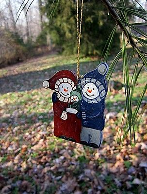 Snowman family - handpainted wooden ornament #182
