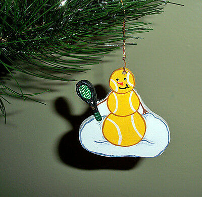 Tennis ball snowman - handpainted wooden ornament #173