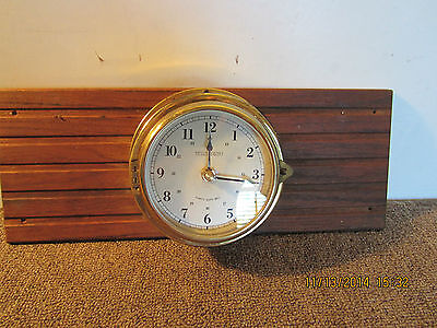 "Maritime Brass ""Trident"" Mounted Ship's Clock"