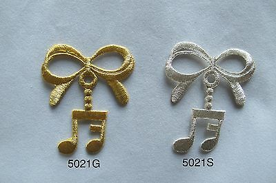#2200 Gold,Silver Trim Fringe Music Note,Piano,Violin Embroidery Applique Patch