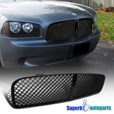 2005-2010 Dodge Charger Mesh ABS Grill Honeycomb Grille Shiny Black