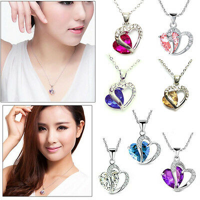 Fashion Heart Crystal Rhinestone 925 Sterling Silver Chain Pendant Necklace HOT