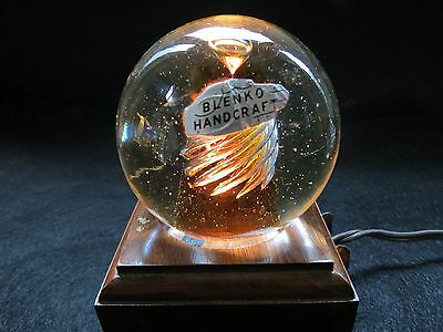 Blenko Air Twist Paperweight with Bubble and Tag