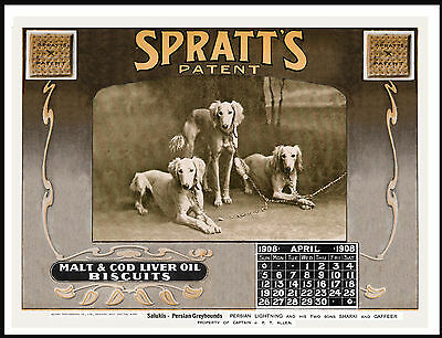 Saluki Lovely Vintage Style Dog Food Advert Calendar Print Poster