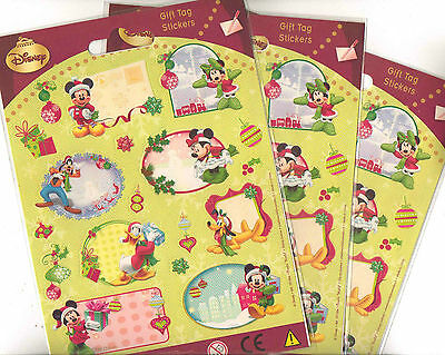 DISNEY MICKEY MOUSE 3 x CHRISTMAS GIFT TAG STICKER PACKS  2 SHEETS PER PACK
