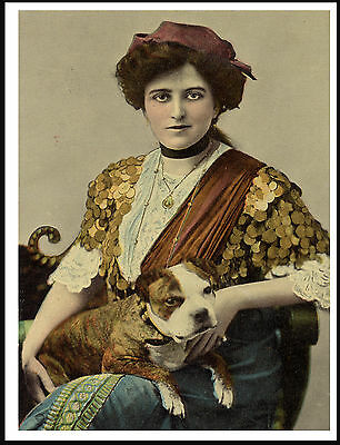 Staffordshire Bull Terrier And Lady Lovely Old Image On Dog Print Poster