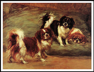 Tibetan Spaniel Three Little Dogs Lovely Vintage Style Image On Dog Print Poster