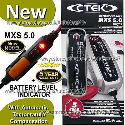 CTEK MXS 5.0 12v Car Bike Automatic Charger + Battery Level Indicator 2019 Model