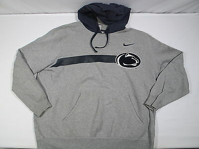 TEAM ISSUED Penn State Nittany Lions Nike Hooded Sweatshirt Large Gray/Navy L