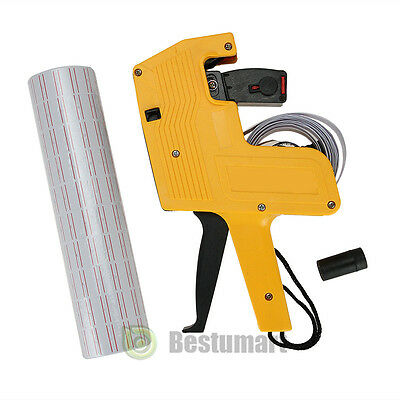 Yellow MX-5500 8 Digits Price Tag Gun + 5000 White w/ Red Lines Labels + 1 Ink