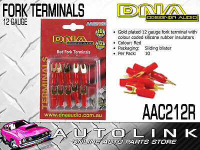Dna 12 Gauge Red Fork Terminals - Insulated Gold Plated (10 Pack)