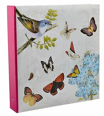 "Photo Album Slip In Ring Binder 4x6"" Hold 500 photos Vintage Butterfly by Arpan"