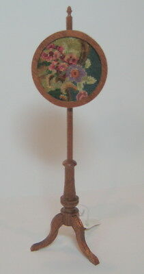 Miniature dollhouse fireplace pole screen with antique petit point - needelpoint