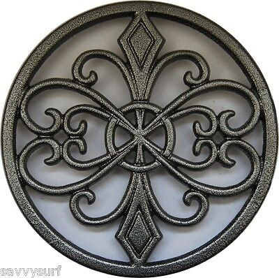Vintage Grey Cast Iron Trivet Work Top Saver Kitchenware Gifts Heat Serving Mat