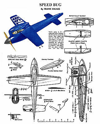 Model Airplane Plan Vintage 1/2 A Control line Speed Plane  Printed Plans & Note