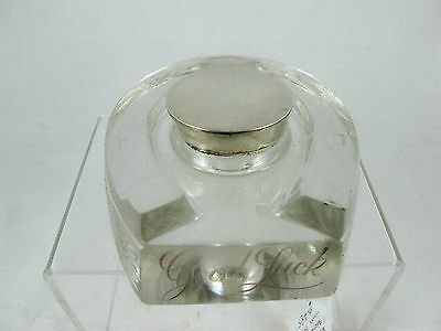 Glass Horse Shoe Shaped Inkwell With Sterling Silver Fittings C 1896