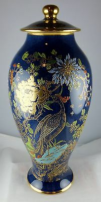 Carlton Ware Rockery & Pheasant Lidded Urn Vase - Blue & Gold with Floral