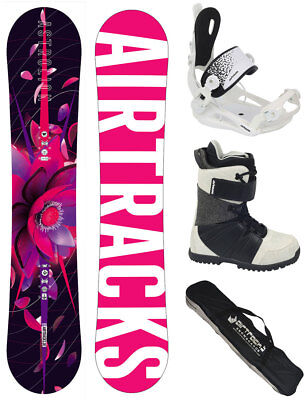 Snowboard Set AIRTRACKS Bluebird Rocker+Savage W Bindung+Boots+Bag 145 151 155cm