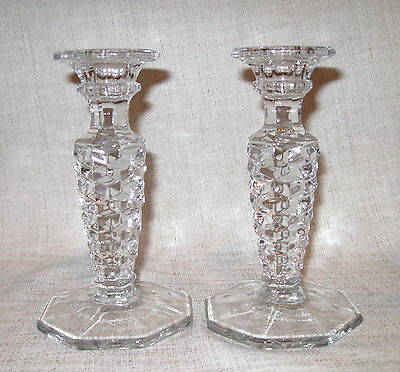 "Pair of Fostoria American 6 1/4"" Candlestick Holders with Octagonal Base # 285"