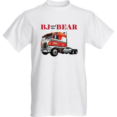 NEW! BJ And The Bear T-Shirt - Greg Evigan - Kenworth - 2 sided print - WHITE