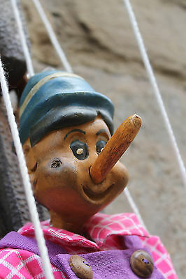 Vintage Wooden Pinocchio Marionette Puppet - Florence, Italy