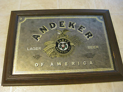 """1982 Pabst Andeker Beer Mirror with Wooden frame 22"""" X 16"""""""