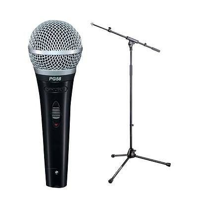 Shure PG58 BTS Mic & Stand Bundle Dynamic Vocal Mic XLR Cable and Stand, New!