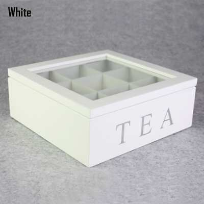 9 Division Compartment Vintage Wooden Tea Bag Storage Box Container w/ Glass Lid