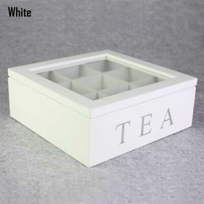 9 Division Compartment Wooden Tea Bag Storage Box Container Glass Lid 3 Colors