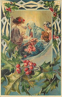 Christmas Nativity~Adoring Lady Angels~Roses~Silver EMB Art Nouveau~Gems~Germany