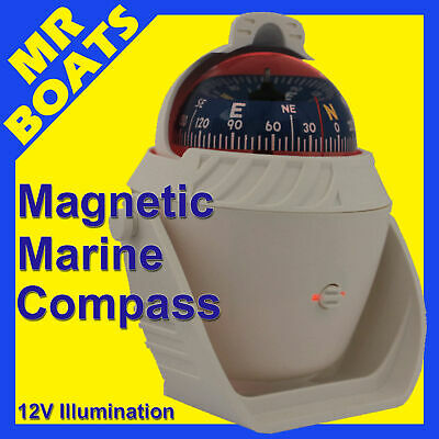 BOAT COMPASS ✱ WHITE ✱ 12v Illuminated LED Light CARAVAN MARINE TRUCKS FREE POST