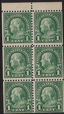 UNITED STATES BOOKLET PANE: 1923 1c deep green SCOTT  #552a  unmounted mint