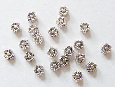 50 Metal Antique Silver Colour  Flower Spacer Beads- 5mm