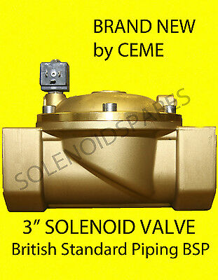 """CEME replacement Solenoid Valves Brass 3"""" BSP  Normally Closed N/C 8621"""