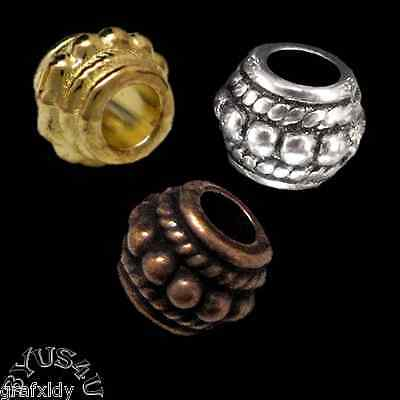 SPACER BEADS BALI STYLE LARGE HOLE ORNATE BARREL ROUND 8x6mm 25pc
